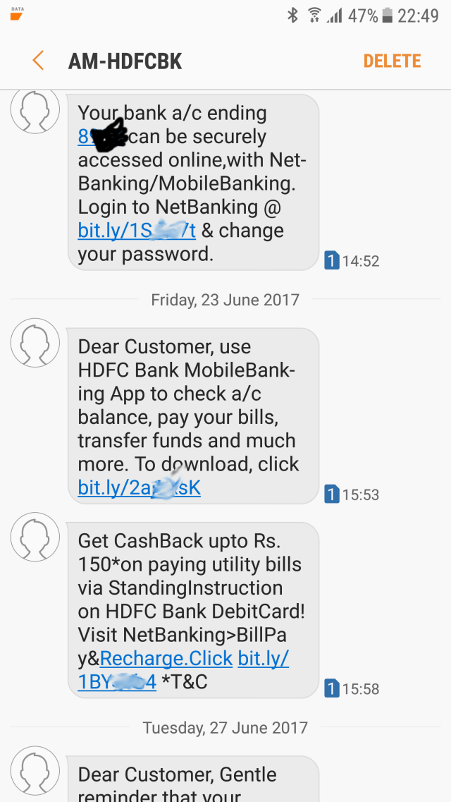 HDFC Messages Screenshot